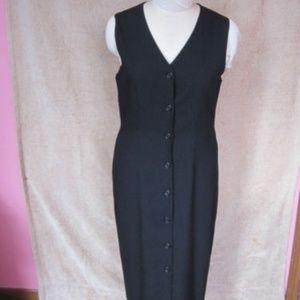 Field Manor Long Black Button Up Wool Dress sz 4